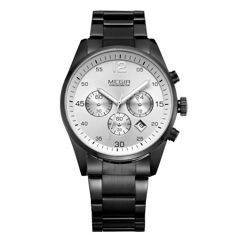 Fashion 2015 Megir Brand  Watches Chronograph Calendar Date Quartz Watches Full Steel Wristwatch