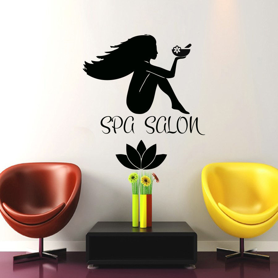 Salon Sticker Beauty Decal Lotus Hair Barber Shop Sexy Girl Posters Name Wall Art Decals Parede Decor Decoration Salon Sticker(China (Mainland))