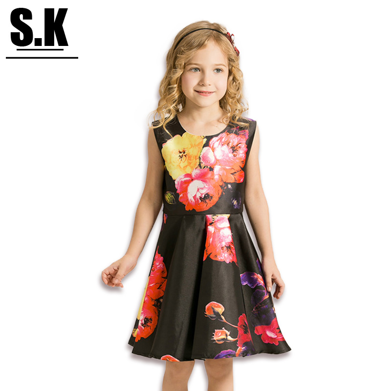 S.K High-end Clothing Girls Ruched Tutu Dress with Flowers 2016 Summer Chine Style Princess Dresses for Girls(China (Mainland))