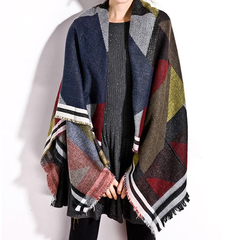 Women Checker Plaid Cape Shawl font b Tartan b font Wrap Winter Pashmina Outwear Chic Charming