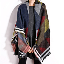 Women Checker Plaid Cape Shawl Tartan Wrap Winter Pashmina Outwear Chic Charming Adorable Casual Coat Scarf