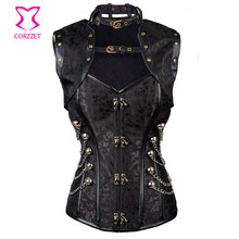 6XL Black Waist Training Corsets Steel Boned Overbust Corset With Jacket Sexy Gothic Clothing Corpetes E Espartilhos Para Festa