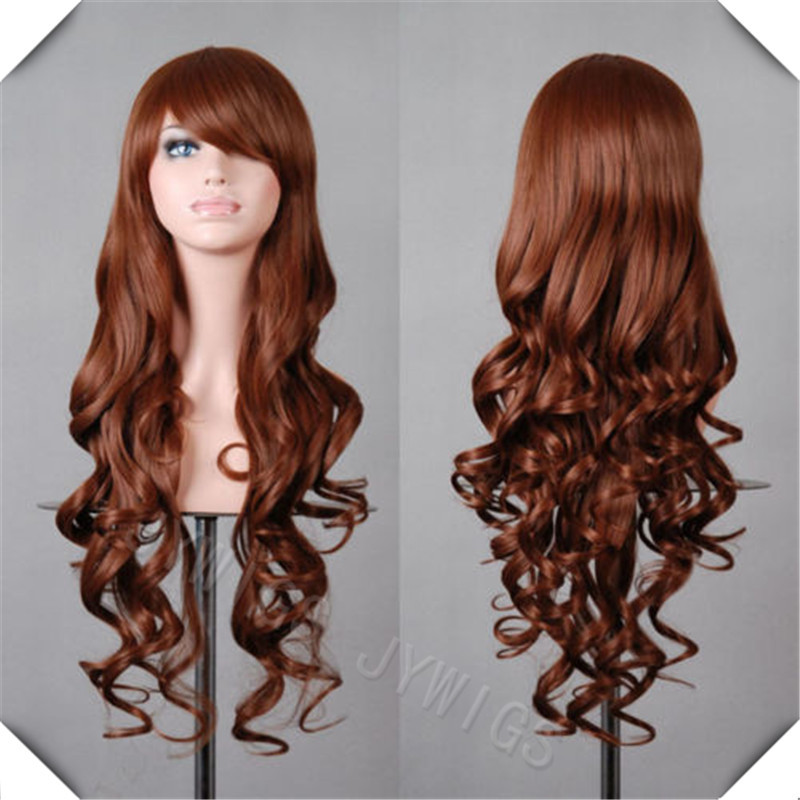 80CM 15COLORS 32Inches  Long Curly Light Brown Cosplay Wigs Lady Wavy Wigs Prompt Deliver<br><br>Aliexpress