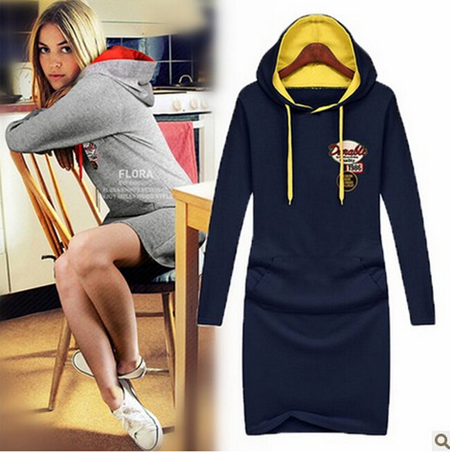 Free Shipping 2014 Newest Fashion Women's Long-sleeve Ladies Dress With A Hood One-piece Dress Plus Size Casual Dress LSH2158LBR(China (Mainland))