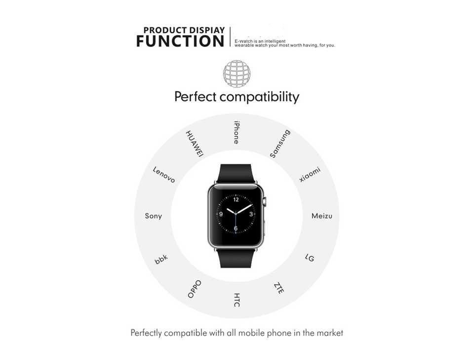 2015 New Smartwatch Bluetooth Smart watch for Apple iPhone & Samsung Android Phone relogio inteligente reloj smartphone watch
