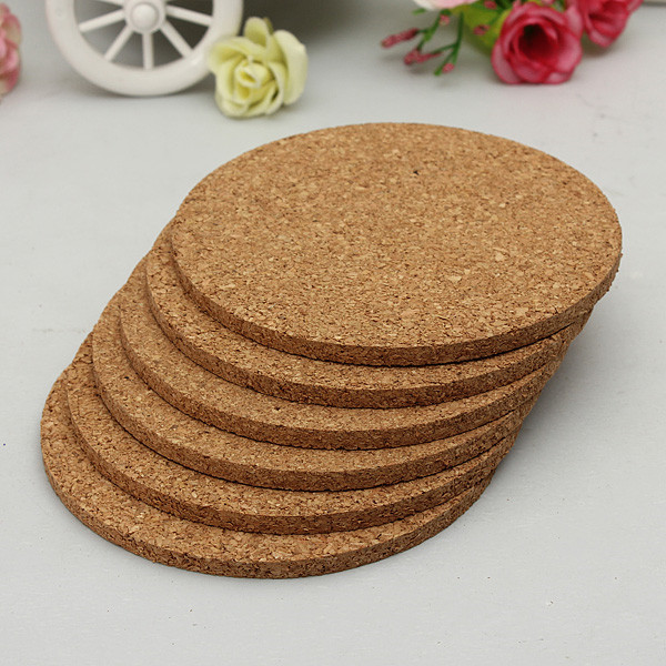 6pcs/lot Round shape Plain Cork Coasters Drink Wine Mats Cork Mats Drink Wine Mat 10cm*0.5cm ideas for wedding and party gift(China (Mainland))