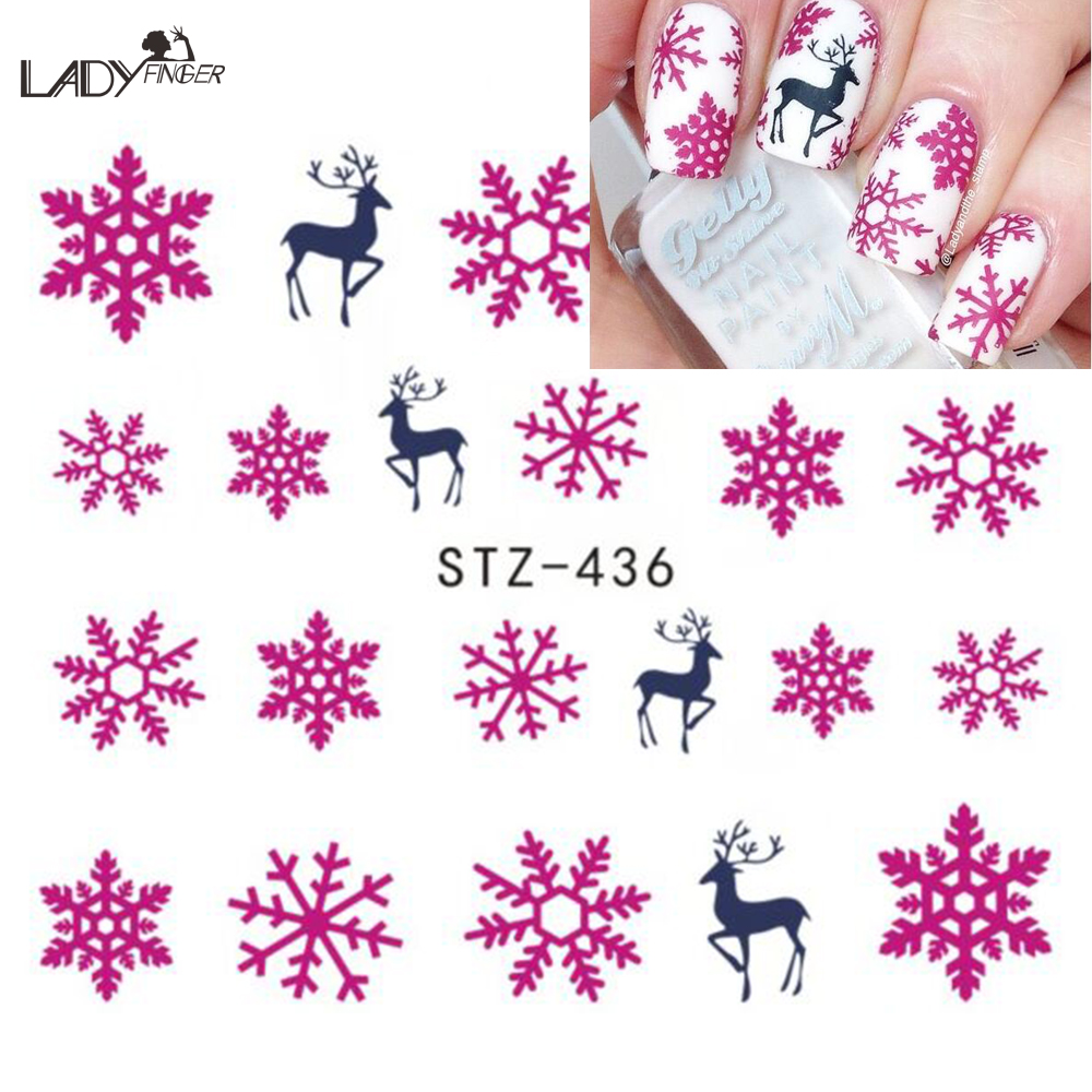 1 PCS Christmas Watermark Nail Decals Beauty Nail Tips Snow Flower Deer Water Transfer Stickers Decals For Nails STZ436(China (Mainland))