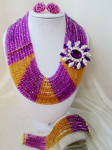2015 new Classic Purple african crystal beads necklace set nigerian wedding african beads jewelry Set WI-3126<br><br>Aliexpress