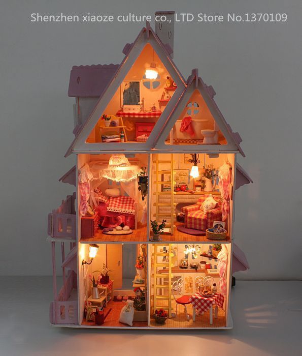 DIY Model Sunshine Alice Doll House Free Shipping Assemble Villa Doll Home/Wood Doll Furniture Wooden Toys Miniature Doll house<br><br>Aliexpress