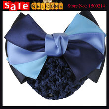 Satin Headband Bow Barrette Lady Hair Clip Cover Bowknot Formal Bank Hotel Office Stewardess Nurse Women Hair Jewelry Bun Snood