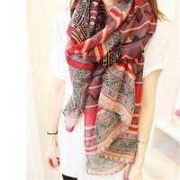 2015 new fashion trendy della boemia delle donne lunga sciarpa con stampa dell'involucro delle signore scialle della ragazza grande sciarpa graziosa tole 6 stili Cai0624