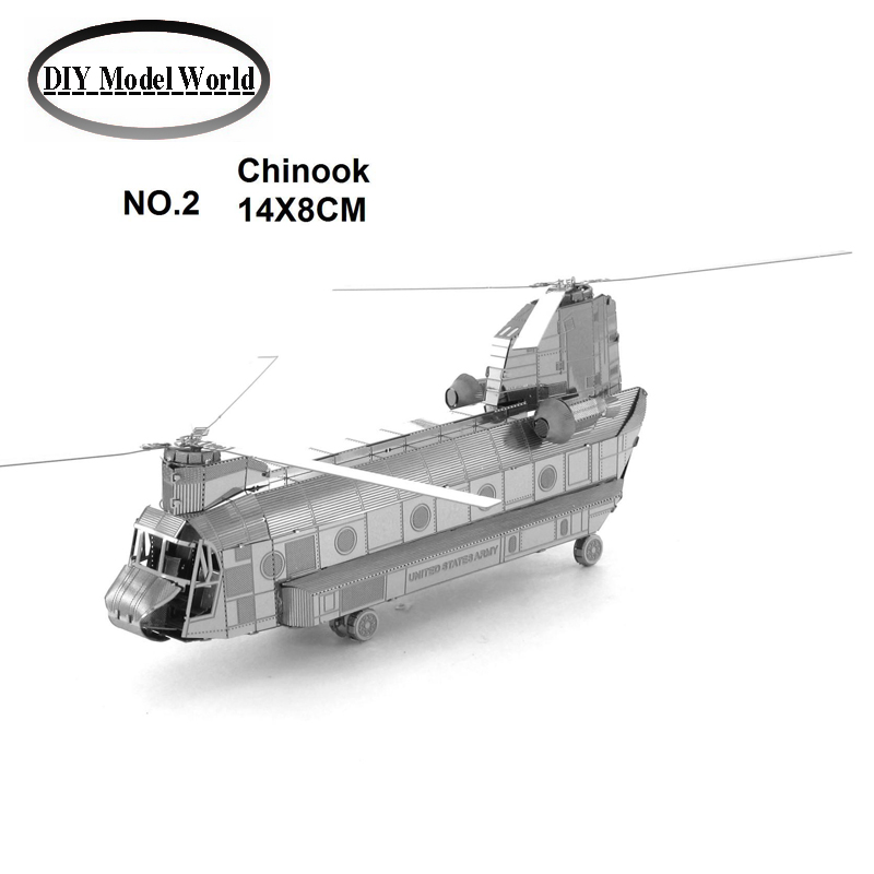 Chinook plane model kit laser cutting 3D puzzle DIY metalic helicopter model jigsaw free shipping best birthday gifts for kids(China (Mainland))