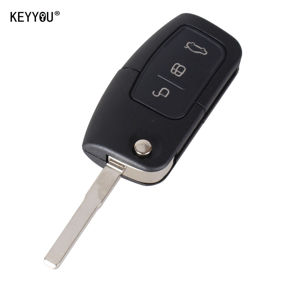 KEYYOU 3 Button Flip Folding Modified Uncut Car Blank Key Shell Remote Fob Cover for Ford Focus Fiesta C Max Ka With LOGO(China (Mainland))