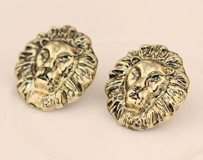 wholesale 60pairs Golden alloy rock punk wedding Carving Relief Terror Ferocious Lion head big Stud earrings for women 2015 gift<br><br>Aliexpress