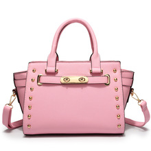 2016 New Women Handbag Rivet Candy Colors Casual Pu Leather Handbags Women Cute Messenger Bags School(China (Mainland))