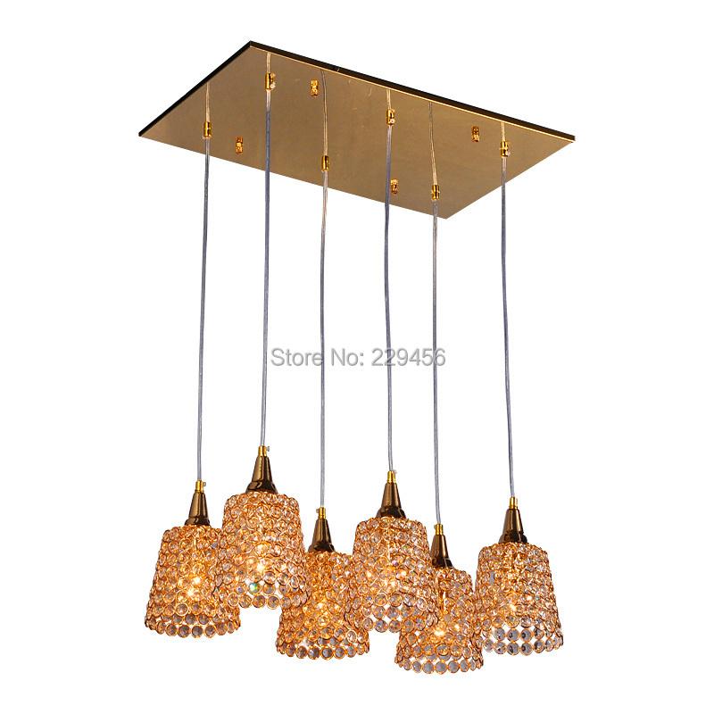 6 Lights Gold Lampshade K9 Crystal Modern Pendant Light Large Living Room Hanging Lamp E14 110-240V(China (Mainland))