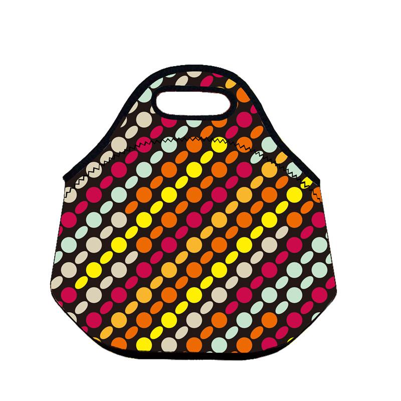 B435 Dot Neoprene Lunch Bag Thermal Insulated Cooler Picnic Bag Kids Lunch Storage Waterproof Portable Handbag Women Bag(China (Mainland))