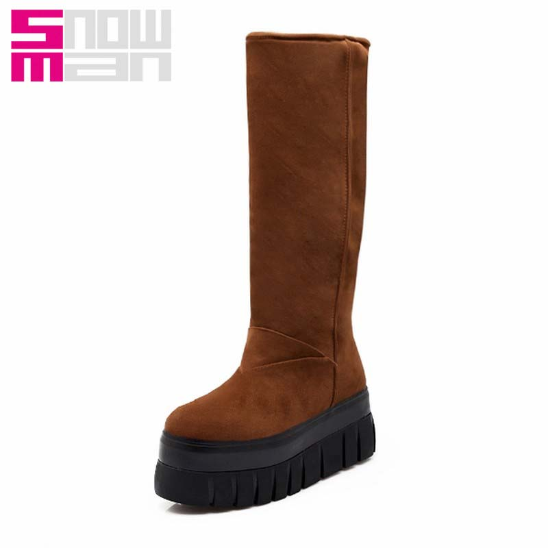 Brand Thick Sole Snow Boots Wedges Thick Fur Knee High Boots Platform Snow Shoes Woman Warm Winter Boots Zapatos Mujer 2015