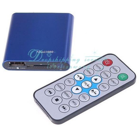 Free Shipping/Drop Shipping Wholesale Mini SD USB HDMI 1080P HD Media Player USB MKV RMVB RM SD SDHC MMC HDD HDMI New(China (Mainland))