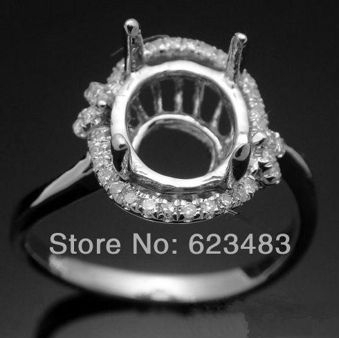 CUTE!7X8mm Oval 14k White Gold . ENGAGEMENT&WEDDING Semi Mount Fine Ring(China (Mainland))