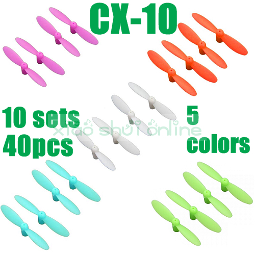 10sets 40pcs Free Shipping cheerson cx-10 cx10 blade spare parts propeller main blades cx 10 RC quadcopter helicopter