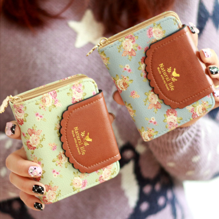 Princess sweet lolita purse new female brief paragraph small  flower purse  pure rosted bump color wallet zip fastener QB07<br><br>Aliexpress