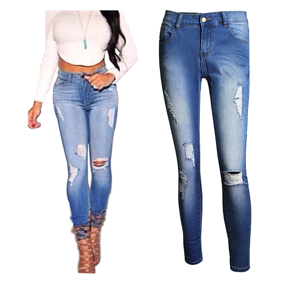 New Arrival 2016 Skinny Jeans Women High Waist Slim Pencil Pants Hole Design Women Denim Pants ...