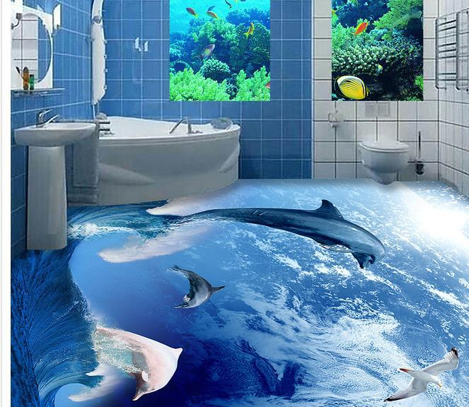 Custom photo floor wallpaper 3d stereoscopic 3d dolphins for Floor 3d wallpaper