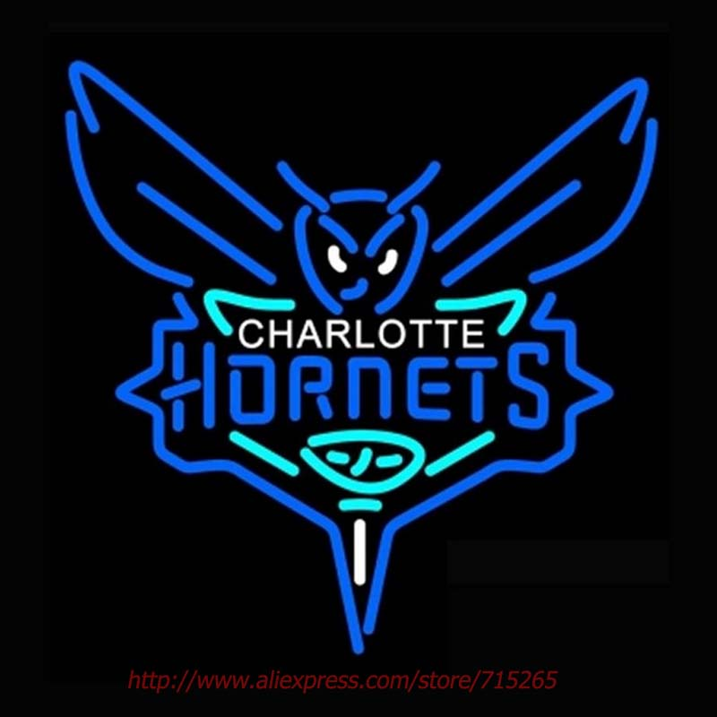 Charlotte Hornets Primary Neon Sign Store Display Handcrafted Neon Bulbs Real Glass Tube Advertise Neon Pub Bar Signs 24x24(China (Mainland))