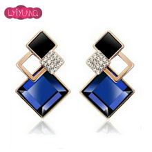 Famous Brand New Fashion Brincos Jewelry Big Blue Crytal Square Stud Earrings For Women Vintage Earring Indian Fine Jewelry(China (Mainland))