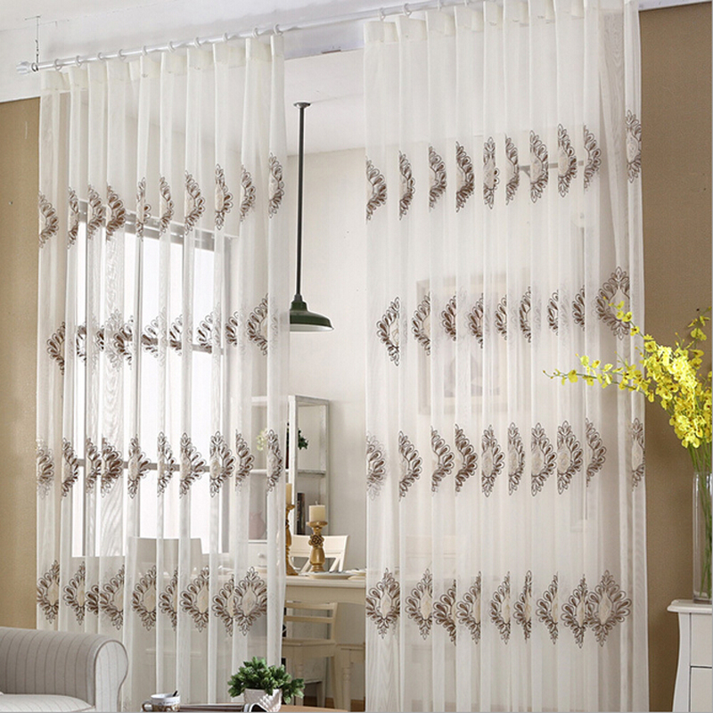 High quality embroidered tulle curtain for sitting room kitchen voile curtain home decor wp346 #15(China (Mainland))