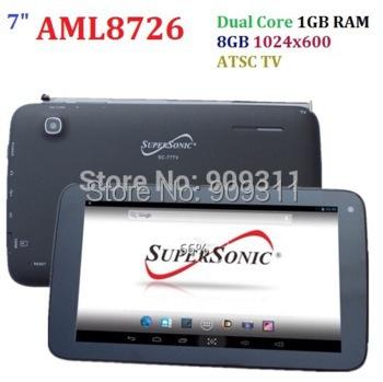 Free DHL shipping 7inch AML8726 Dual Core Tablet PC Digital TV 8GB Rom 1GB RAM sale cheap tablet pc 1024 x 600(China (Mainland))