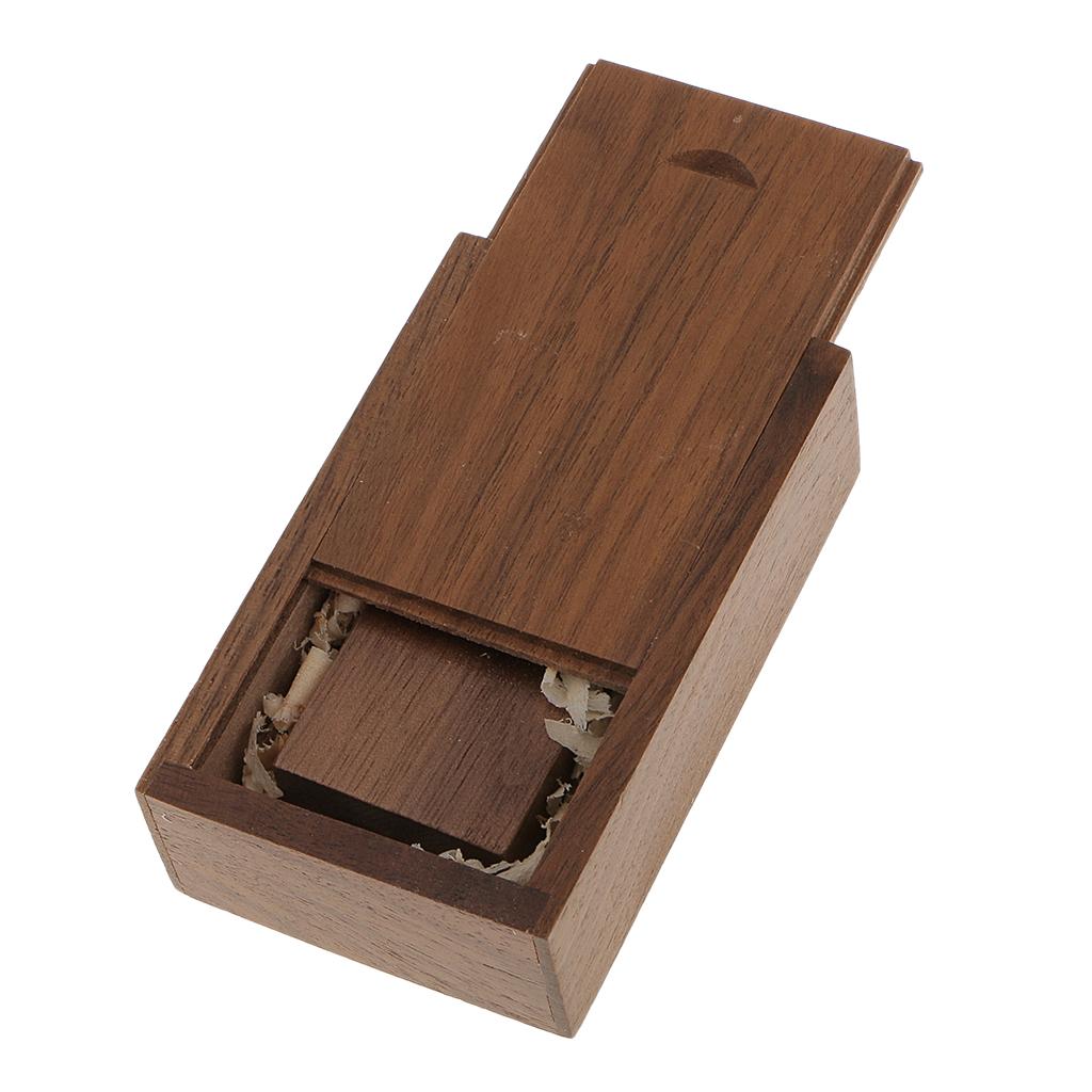 3x 16GB Walnut Wood USB 2.0 Memory Stick Flash Drive with Wooden Box