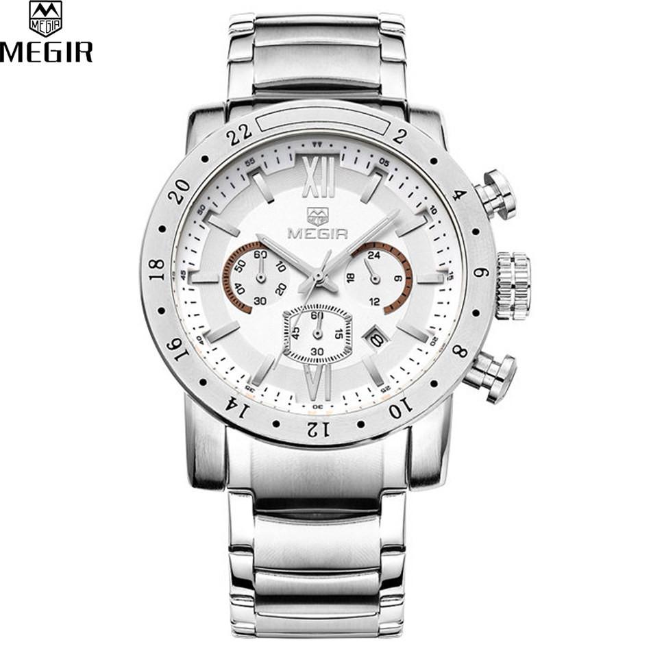 MEGIR Известный Бренд Мужские Часы Лучшие Качества Роскошные Часы Военная Хронограф 24 Часы Мужчины Из Нержавеющей стали Часы Relógio