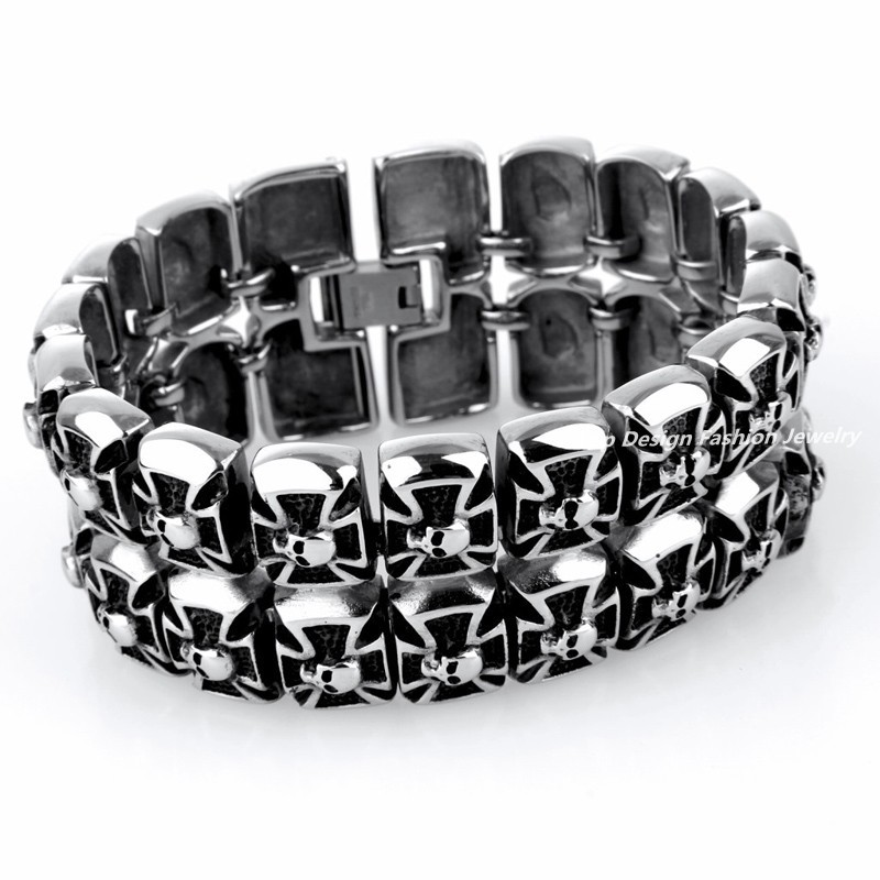 8.3''(21Cm) 159g Heavy Mens Superb Quality Bling Cross Bracelet 316L Stainless Steel Double Layer Skull Link Punk Bracelets(China (Mainland))