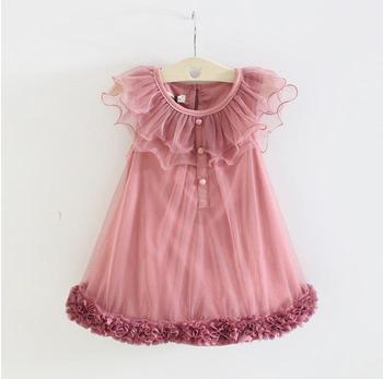 New children dresses fashion love lace sleeveless puff Yarn hem vest fairy chiffon princess little girls clothing flower dress