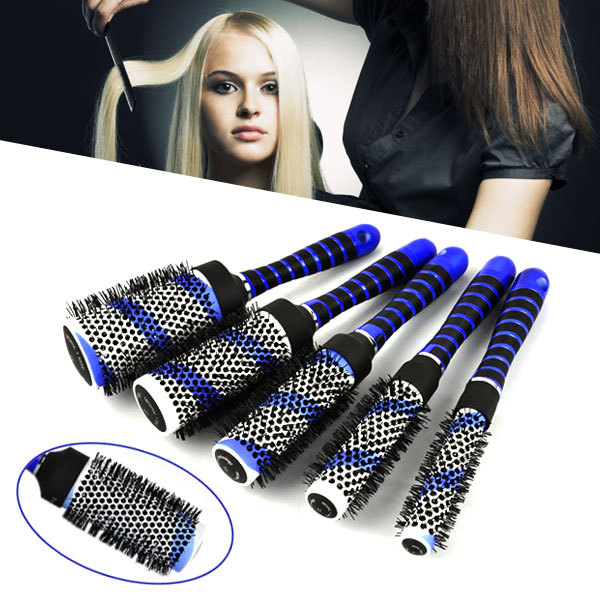 Free Shipping 5in1 Blue Round Hair Curling Brush Hairdressing Curler Comb Salon Barbers Tool High Quantity(China (Mainland))