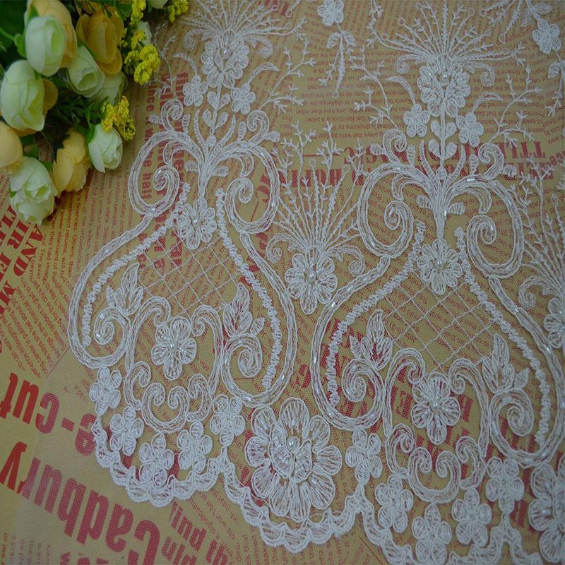 Popular Beaded Motifs Bridal Lace Fabric-Buy Cheap Beaded Motifs ...