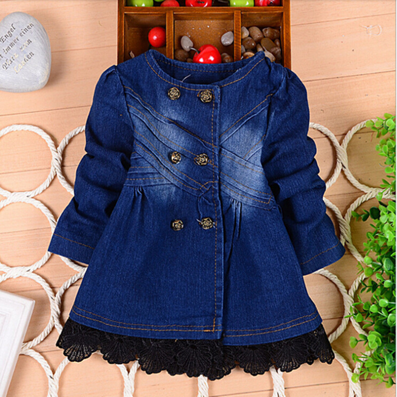 2015 children outerwear baby girls cowboy jacket coat kids lace overcoat spring autumn fancy baby clothing children clothes(China (Mainland))