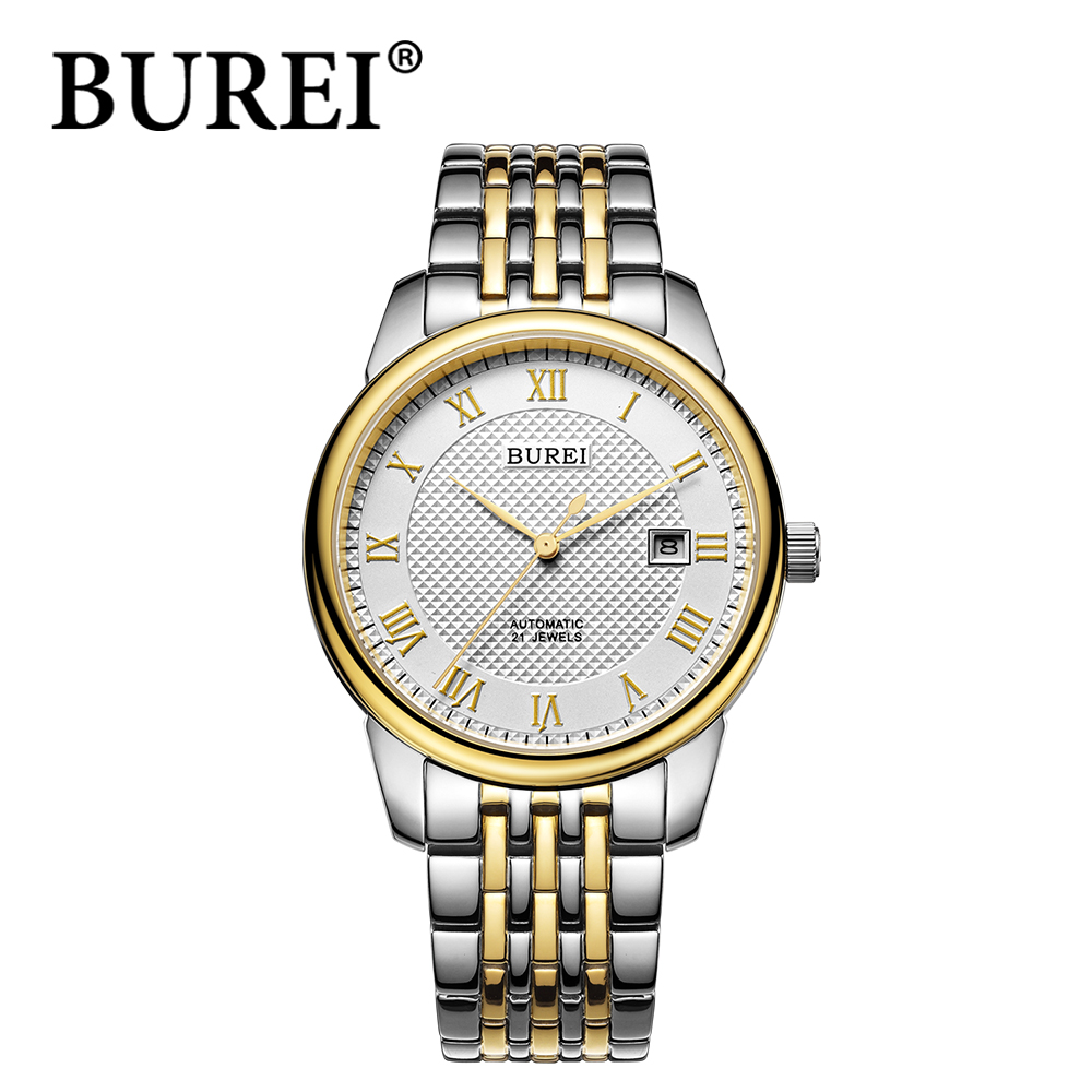 BUREI stainless steel strap waterproof watches scratch resistant sapphire crystal Roman scale complete calendar wristwatches<br><br>Aliexpress