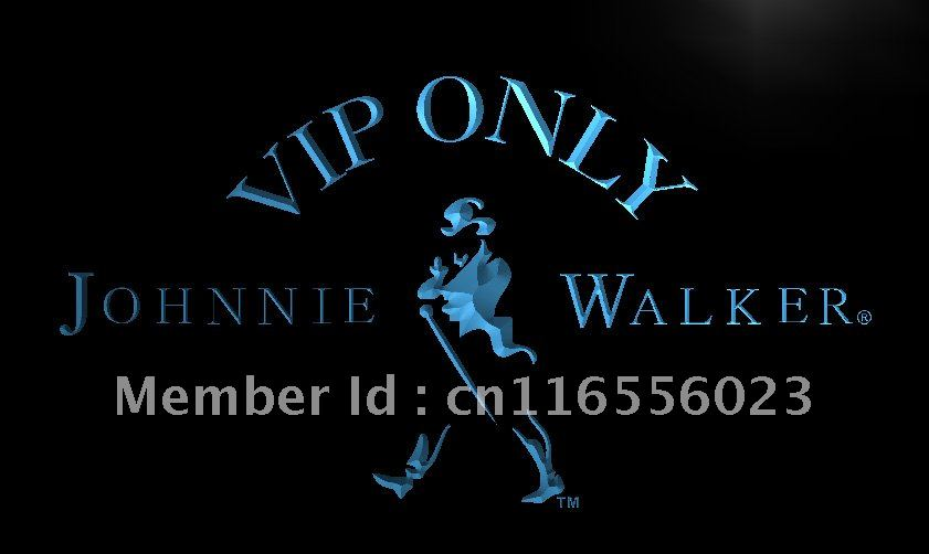 LA438- VIP Only Johnnie Walker Whiskey LED Neon Light Sign home decor crafts(China (Mainland))