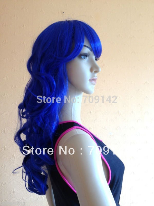 Imitation of human made no lace Stylish Ladies Curly FANCY DRESS PARTY WIGS BLUE Cosplay Wigs queen brazilian women's Wig(China (Mainland))