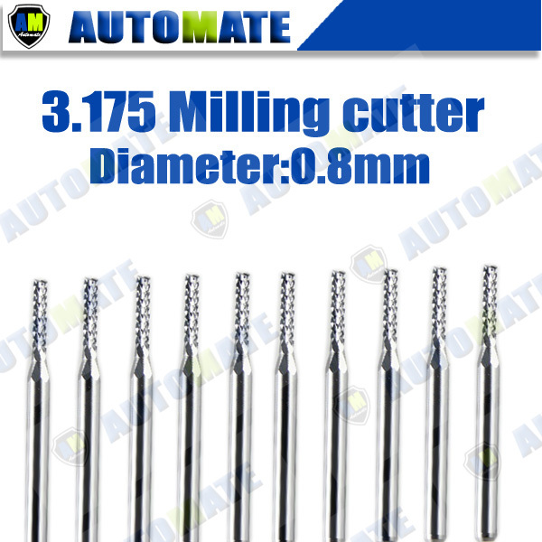 10pcs pcb mini cutter 3.175X0.8mm carbide drill milling cutting lathe cutting tools,cutter kit on SMT engraving machine(China (Mainland))