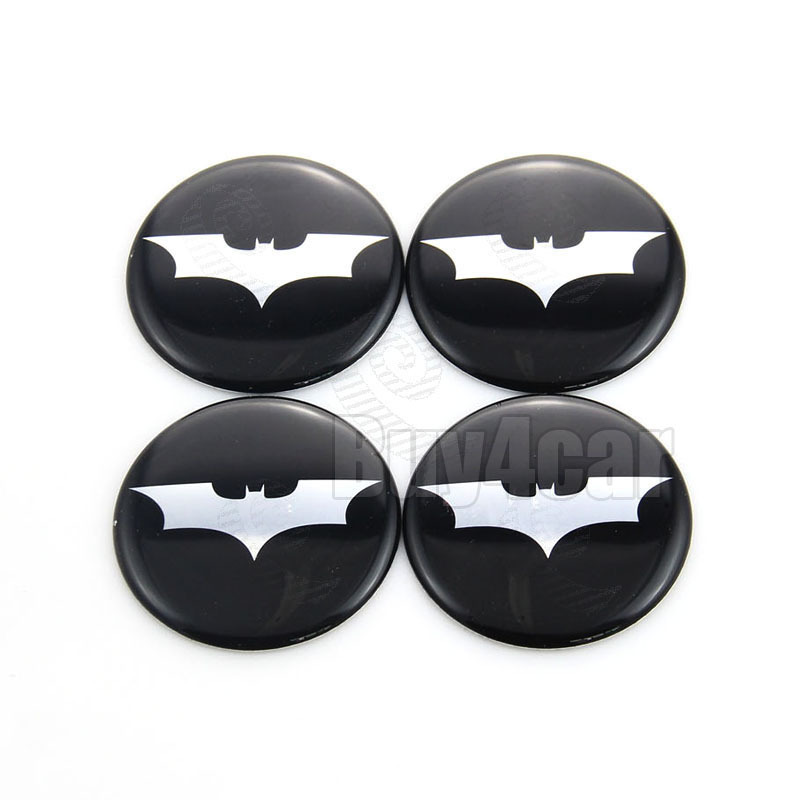 4X Car Accessories Ornament Wheel Center Batman Bat Logo Emblem Rim Hub Cap Stickers 50mm(China (Mainland))