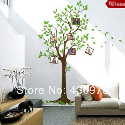 QZ934 Free Shipping 1Pcs Aestheticism Green Leaf Brown Tree Photo Frame Bird Removable PVC Wall Stickers Home Decoration Gift(China (Mainland))