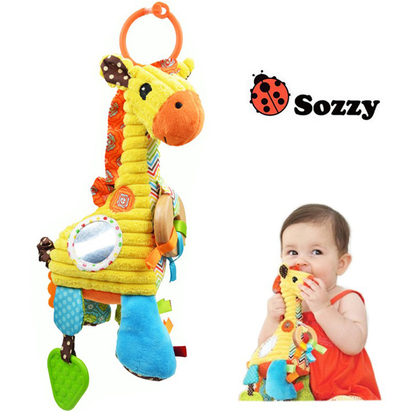 Musical Baby Toys Stroller Cot Hanging Crib Mobile Sozzy Soft Plush Giraffe Pull String Teether Rattles Toys For Newborns Babies(China (Mainland))