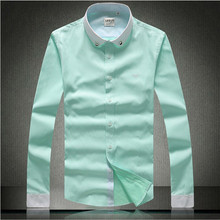 The most pop in European and American designer men's long-sleeved shirts fashion brand style excellent plaid design shirts 525(China (Mainland))