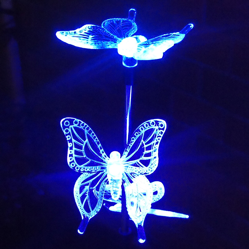 Solar lamps 3 led acrylic butterfly luces de navidad solar for Lumiere de jardin led