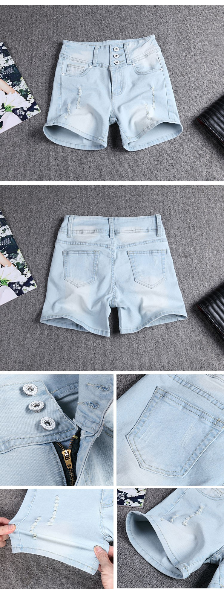 Скидки на Женщины шорты грудью прямой отверстие мода марка летний стиль женщины шорты свободного покроя женские тонкие высокой талией джинсовые шорты