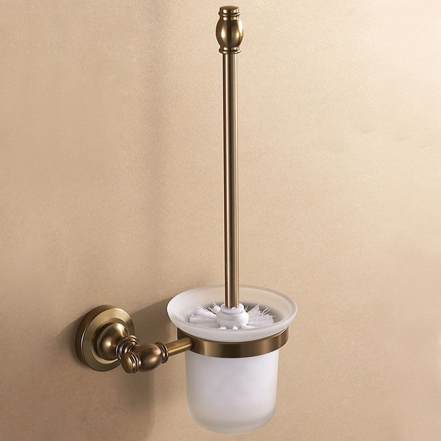 Free shipping high class space aluminum toilet brush holder and glass cup wall mount  antique brush bronze